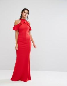 Платье макси с оборками City Goddess - Красный