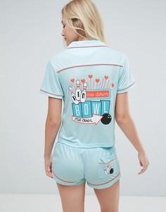 Пижама с шортами и рубашкой с принтом Bowl Me Over MinkPink - Серый