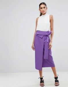 Юбка-карандаш в стиле оригами с запахом ASOS Tailored - Фиолетовый