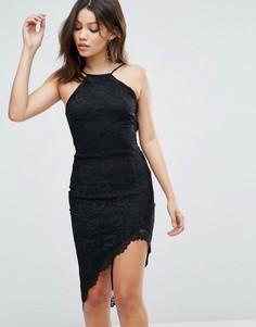 Платье с американской проймой и асимметричным подолом City Goddess - Черный