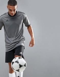 Серая футболка с рисунком в тон adidas Football BQ6864 - Серый