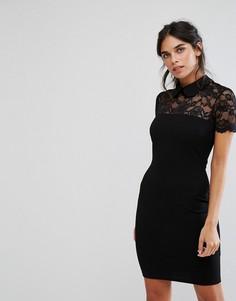 Платье-футляр с кружевной кокеткой и воротником City Goddess - Черный