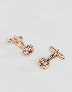 Розово-золотистые запонки в виде узелков ASOS - Золотой