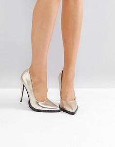 Золотистые туфли-лодочки с заклепками Public Desire - Золотой