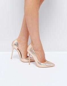 Туфли на каблуке цвета розового золота Public Desire Margi - Золотой