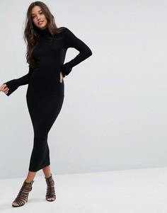 Облегающее платье макси в рубчик с воротником поло и манжетами-оборками ASOS City - Черный