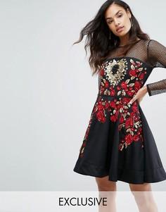 Короткое приталенное платье с отделкой A Star is Born - Черный