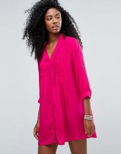 Ярко-розовое пляжное платье-рубашка Anmol - Красный