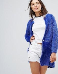 Пушистое пальто-кардиган QED London - Синий