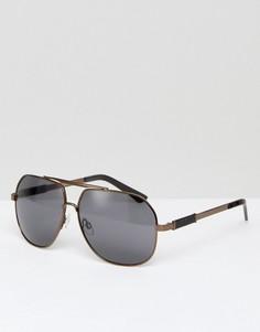 Солнцезащитные очки-авиаторы в оправе бронзового цвета AJ Morgan - Коричневый