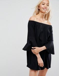 Платье мини с открытыми плечами и рукавами клеш ASOS - Черный
