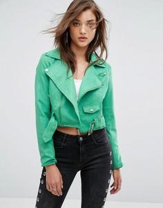 Байкерская куртка из искусственной замши Boohoo - Зеленый