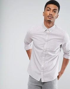 Приталенная рубашка в полоску с длинными рукавами Burton Menswear - Розовый