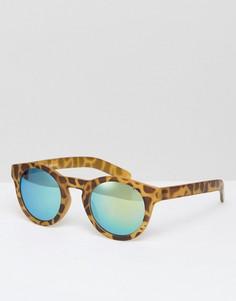 Круглые черепаховые солнцезащитные очки с зелеными стеклами AJ Morgan - Коричневый