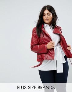 Куртка из искусственной кожи с поясом Boohoo Plus - Красный