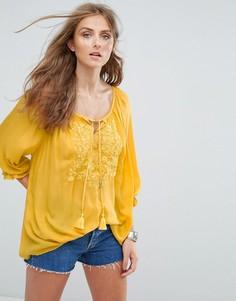 Блузка с завязкой и кисточками Deby Debo Libellule - Желтый