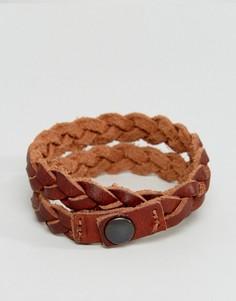 Плетеный кожаный браслет-манжета Jack & Jones - Коричневый