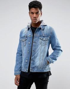 Джинсовая куртка с трикотажным капюшоном ASOS - Синий