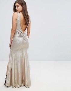 Платье макси цвета металлик с высоким вырезом и узлом на спине TFNC - Золотой
