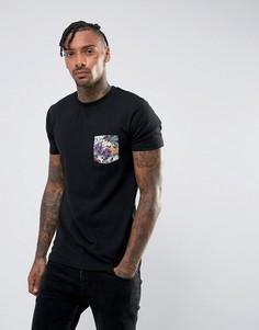 Обтягивающая футболка с цветочным принтом на кармане ASOS - Черный