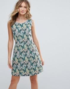 Платье мини с пальмовой вышивкой Deby Debo Tigre - Зеленый