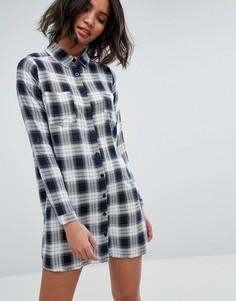 Платье-рубашка в клетку Influence - Темно-синий