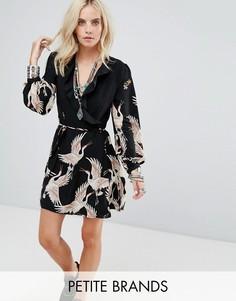 Платье с запахом, принтом и оборками Glamorous Petite - Черный