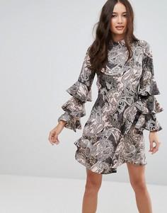 Платье с принтом пейсли и оборками на рукавах Influence - Мульти