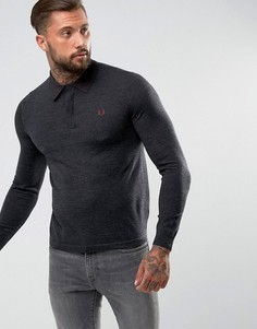 Темно-серая футболка-поло с контрастной отделкой Fred Perry - Серый