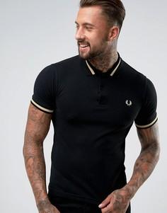 Черная футболка-поло с контрастной отделкой Fred Perry REISSUES - Черный