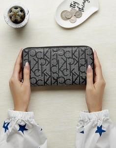 Монохромный кошелек на молнии Calvin Klein - Серый