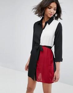 Платье-рубашка в стиле колор блок Influence - Мульти