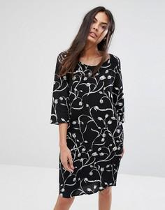 Платье А-силуэта с принтом Selected Lilica - Черный