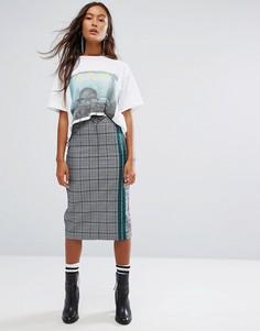 Клетчатая юбка-карандаш с полосками в спортивном стиле STYLENANDA - Серый