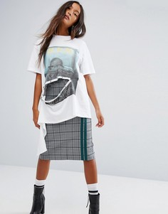 Деконструированная футболка с принтом на спине STYLENANDA - Белый