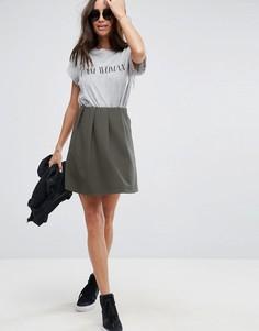 Короткая расклешенная юбка в рубчик со складками ASOS - Зеленый