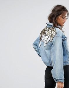 Джинсовая куртка с отделкой Free People - Синий