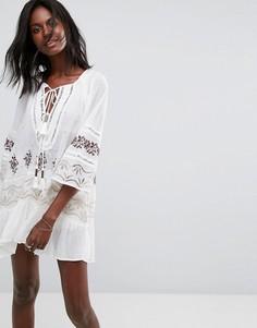 Блузка-туника со шнуровкой Free People - Белый