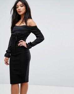 Платье миди с открытыми плечами и присборенными вставками Vesper - Черный