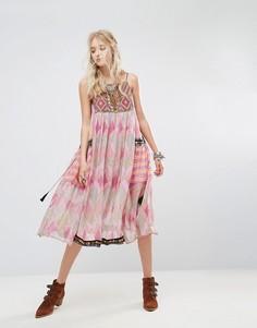 Платье миди с принтом Home Sweet Home Free People - Фиолетовый