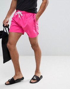 Шорты для плавания на шнурке с логотипом на ленте Calvin Klein - Фиолетовый