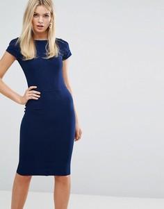 Облегающее платье в рубчик с короткими рукавами Closet London - Темно-синий