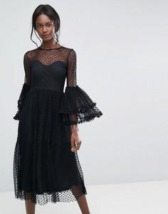 Платье миди из прозрачной сетки с оверсайз-рукавами Lace and Beads - Черный