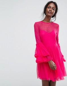 Платье мини из прозрачной сетки с оверсайз-рукавами Lace & Beads - Розовый