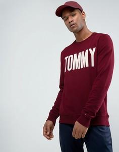 Бордовый свитшот с логотипом Tommy и круглым вырезом Tommy Hilfiger Denim - Красный