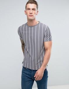 Серая футболка с вертикальными полосками New Look - Серый