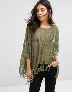 Легкое вязаное пончо Pieces Sidsel - Зеленый