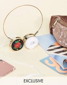 Наушники цвета розового золота с вышивкой Skinnydip - Мульти