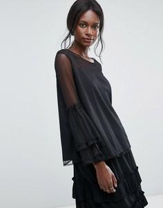 Топ из прозрачной сетки с оверсайз-рукавами Lace and Beads - Черный