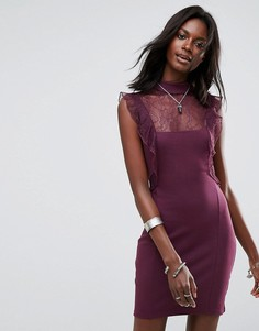 Платье с кружевом Free People - Фиолетовый